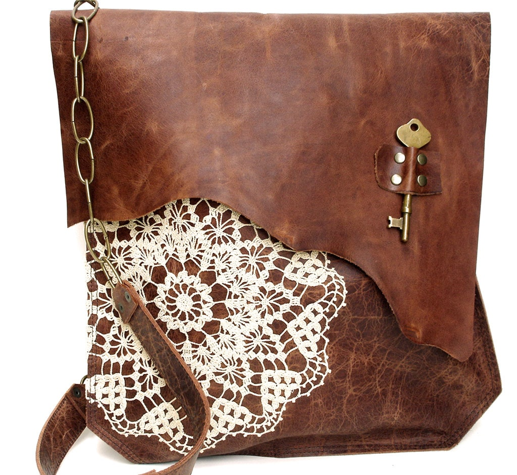Leather Crochet Bag : XL Boho Leather Messenger Bag with Crochet Lace & Antique Key by ...
