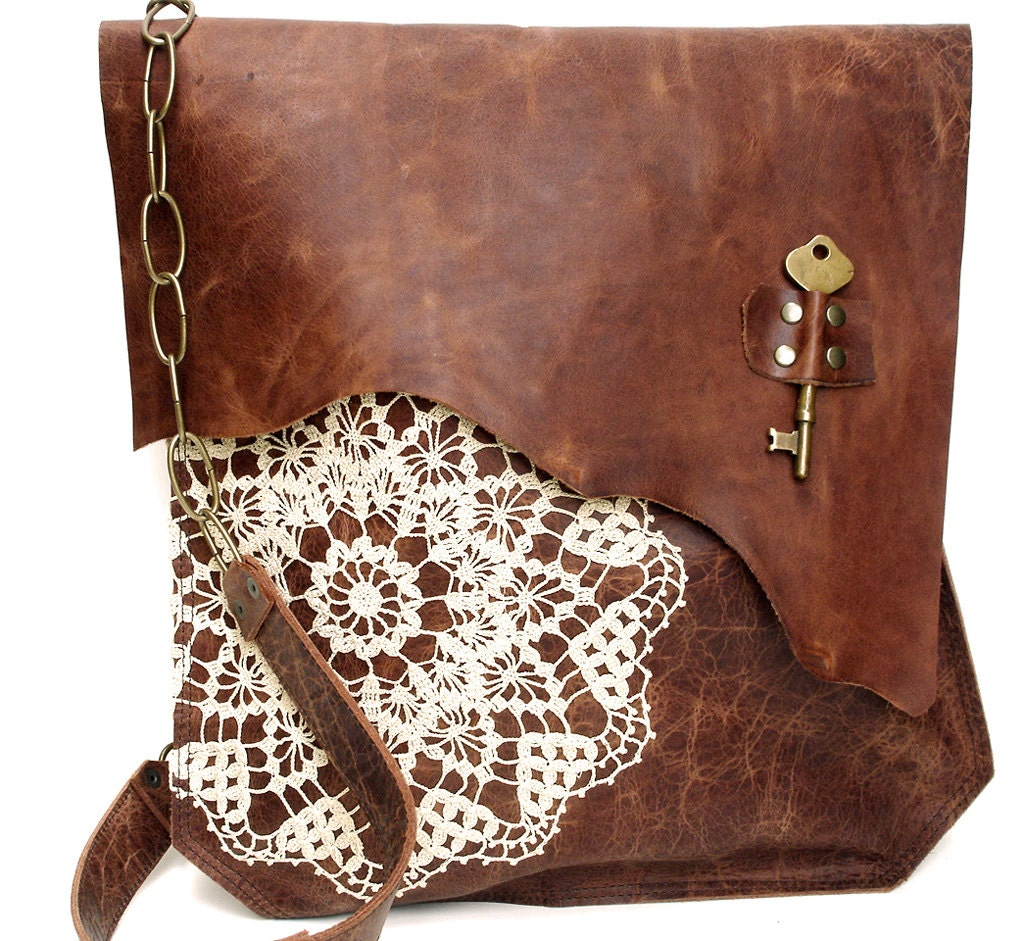 Crochet Boho Bag : XL Boho Leather Messenger Bag with Crochet Lace & Antique Key by ...