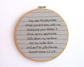 Hand Embroidery Hoop - Say Say My Playmate