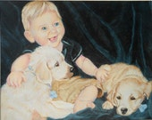Custom Baby Portrait, Custom Kids Portrait, Custom Pet Portrait, from photos - 11 x 14 of Child, Dogs, artist original, full of personality