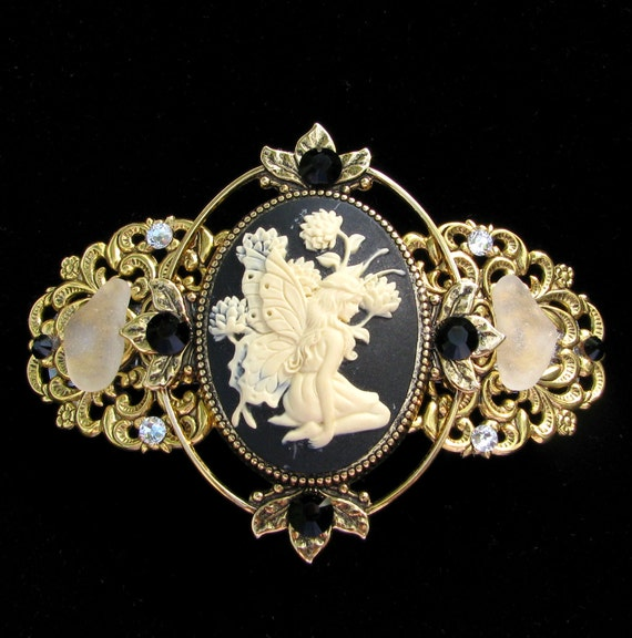 Cameo Barrette Black and Creme Fairy  with Beach Glass and Crystal Accents