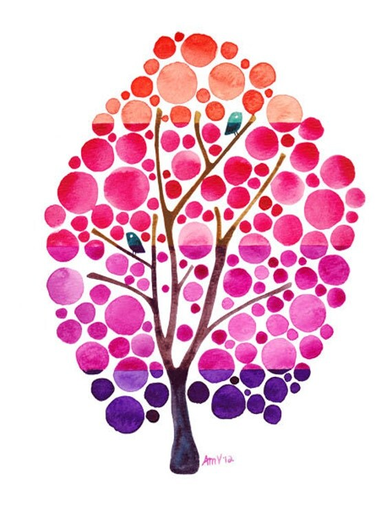 Diy Girly Wall Decor : Watercolor tree artwork sunset ombre art print pink girly