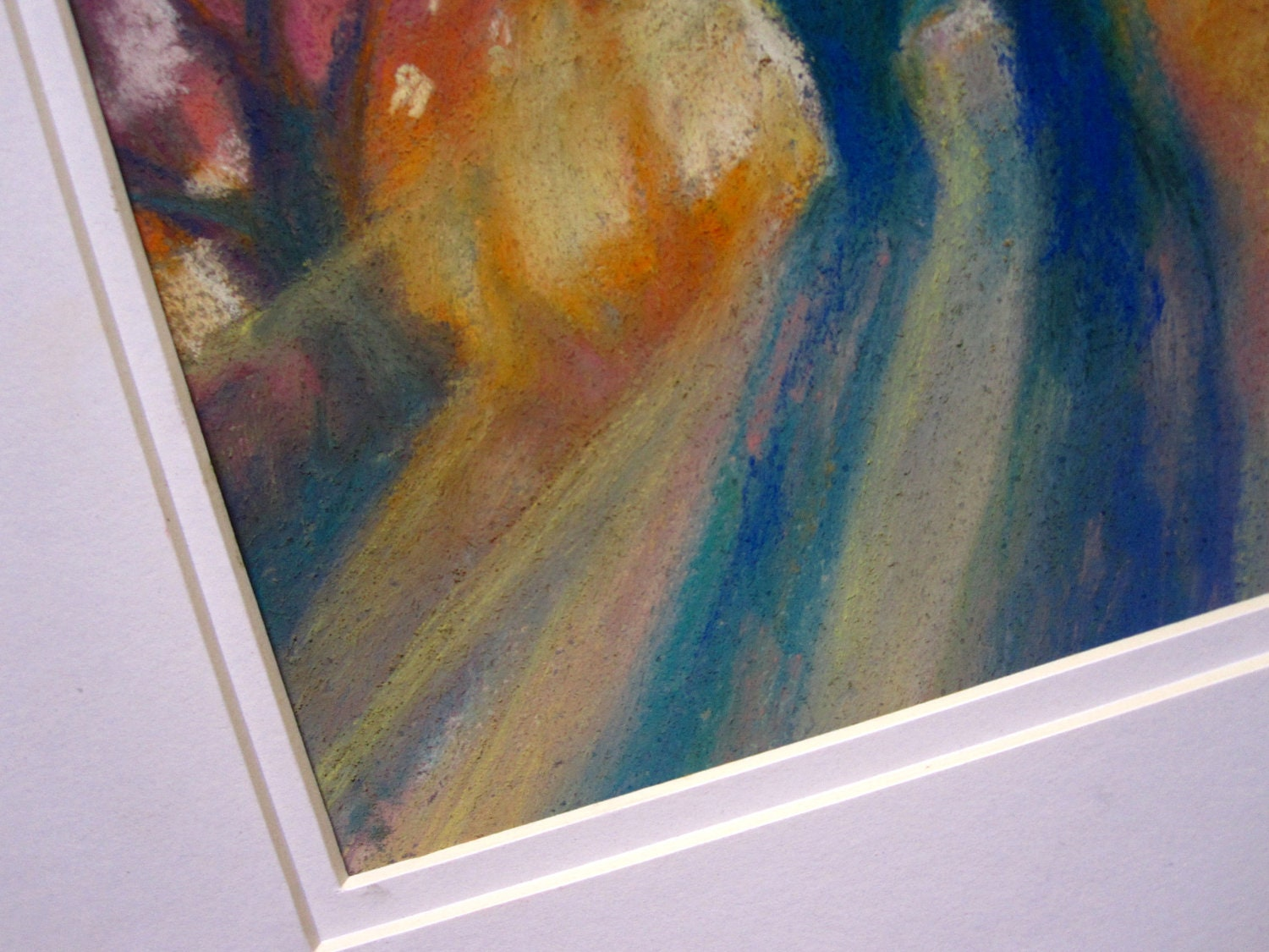 Pastel Drawing Shine Through Original Pastel Painting Matted and Ready To Frame Colourful Home Art