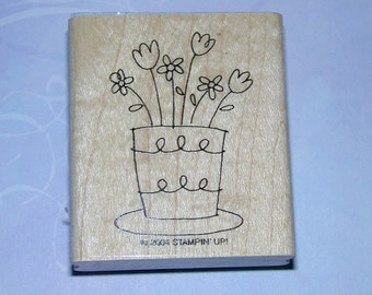 SALE Flower Pot Rubber Stamp by Stampin Up 2004 Destash