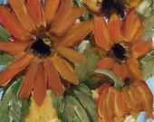 SALE--------Orange Flowers, Gerber Daisy, Stil Life, Gold Pot, Floral, Winjimir, Original, Oil Painting, gift, ebsq