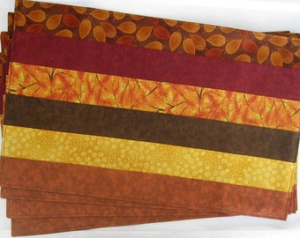 Autumn Leaves Cranberry Red Orange Yellow Gold Brown Set of 4 Placemats