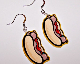 Funky Fast Food Hot Dog Earrings