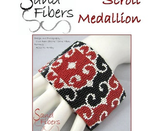 Peyote Pattern - Scroll Medallion Peyote Cuff / Bracelet  - A Sand Fibers For Personal/Commercial Use PDF Pattern