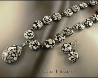 FREE SHIPPING - Shell, Swarovski & Sterling Silver Necklace CLOSEOUT