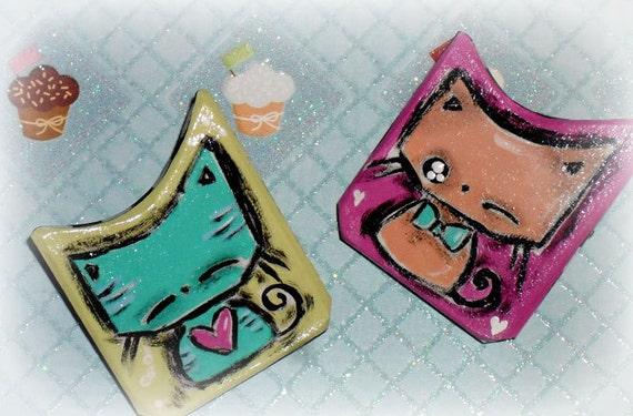 Handmade Cat Hair Barrettes Kawaii Cute Pink Green Kitties