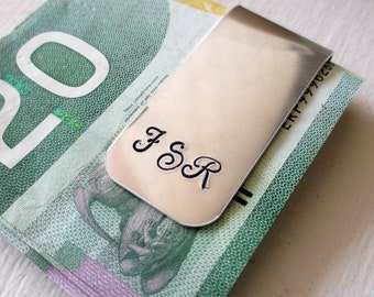 SET OF 6 Monogrammed Personalized Money Clips Custom Hand Stamped Gift Groom Grooms Men Father of the Bride Wedding Bridal Party Engagement