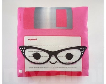 Decorative Pillow, Floppy Disk, Nerdy, Geeek Pillow, 80's, Retro, Techie, Cotton Pillow, Throw Pillow, Room Decor, Office Decor, 7 x 7""