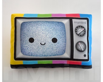 Decorative Pillow, TV Pillow, Vintage Television, Retro, 80's, Rainbow, Geekery, Cushion, Kawaii, Room Decor, Dorm, Movie Night Toys, 9 x 6""