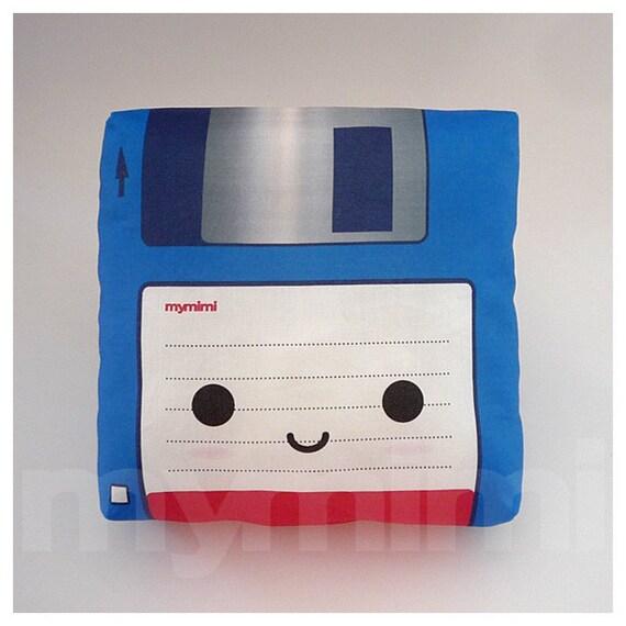 Decorative Pillow, Mini Pillow, Retro Toy Pillow - Blue Floppy Disk