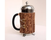 The Original French Press Coffee Cozy - Wooden Style -