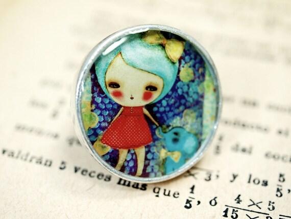 Little Blue Elephant - Original Handmade Big Silver Adjustable Ring Jewelry by Danita