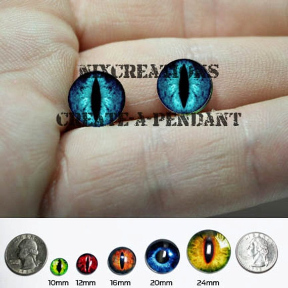 Taxidermy Glass Eyes - 10mm - Blue Dragon Eye Cabochons for Steampunk Jewelry and Pendant Making