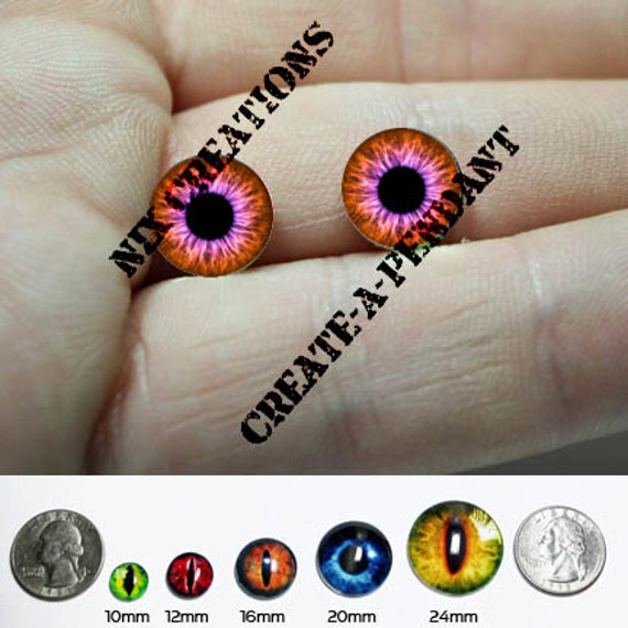 Glass Eyes - 10mm - Orange / Pink Human Doll Taxidermy Eyes Handmade Glass Cabochons for Steampunk Jewelry and Pendant Making