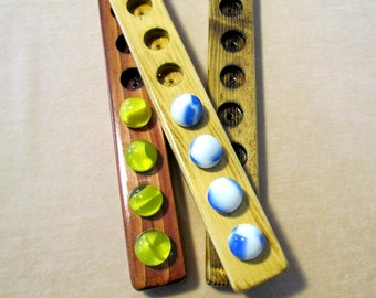 Solid Wood Switch Solitaire Game with Large Marbles.