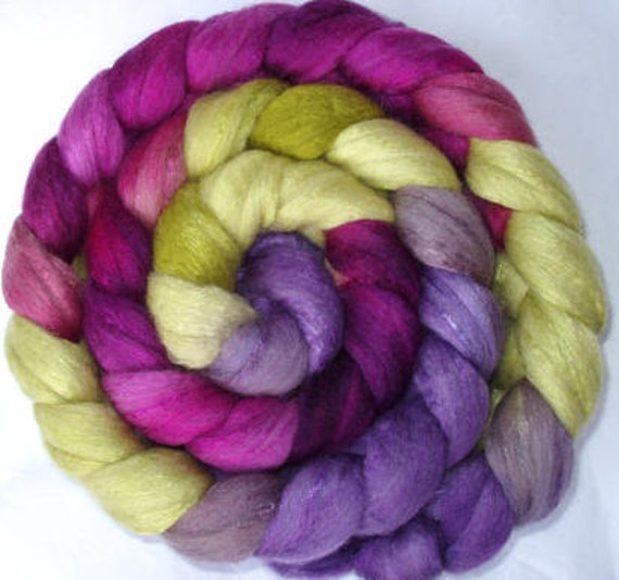 Finest merino & mulberry silk roving, handpainted, for handspinning and felting, 3.5oz/100g