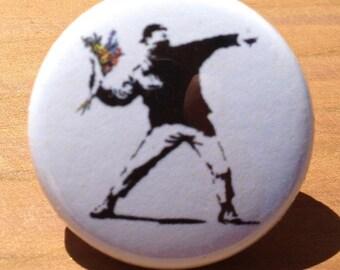 Throwing flower stencil - button, magnet, or bottle opener