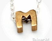 M - Tiny Initial Necklace - Vintage Brass Pendant on Sterling Silver Chain - Free US Shipping
