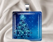 Christmas Necklace - Blue Christmas - Holiday Square Glass Tile Pendant