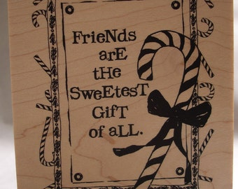 friends are the sweetest gift collage large rubber stamp