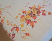 Vintage Tablecloth- Orange & Yellow Autumn Bouquet Floral Design - Great Condition Cotton Linen Tablecloth
