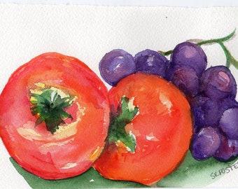Persimmons, Grapes watercolor painting original, fruit painting 4 x 6 watercolor painting of persimmons, purple grapes, kitchen art