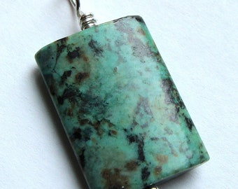 African Turquoise Jasper Pendant Wire Wrapped in Sterling Silver