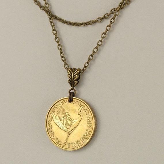 New Zealand Coin Necklace 1991 Kotutu Bird