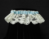 Cute and sexy Vivian garter - ivory lace with light blue satin ribbon