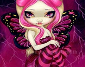 Pink Lightning lowbrow storm fairy art print by Jasmine Becket-Griffith 8x10