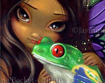 Faces of Faery 93 frog toad butterfly big eye fairy face art print by Jasmine Becket-Griffith 6x6