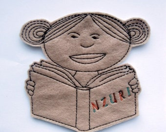 Black girl reading a book iron on patch applique - Black girl - African-American - book patch - pactches for bags - pacthes for jackets