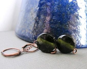 Glass Earrings, Copper Earrings, Green Earrings, Recycled Glass, Olive Green, Lampwork Glass, Dangle Earrings, Copper Jewelry