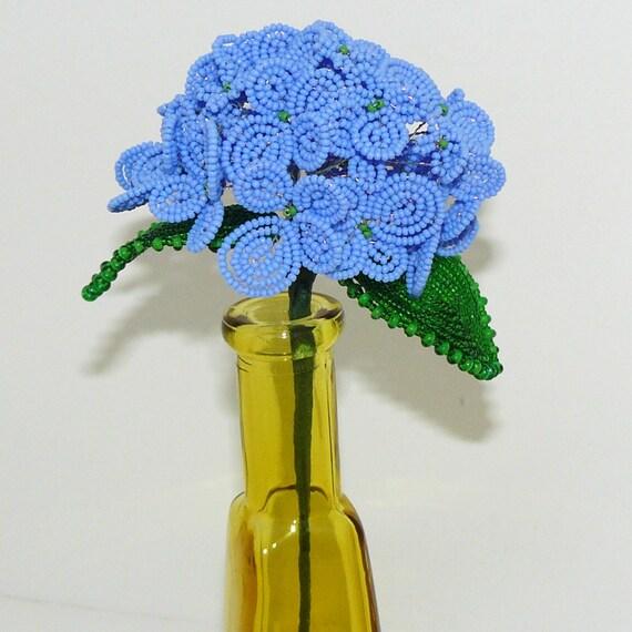 Beaded Flowers Hydrangea in Blue