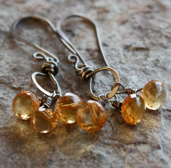 CITRINE earrings, NOVEMBER birthstone, NOVEMBER birthday, yellow earrings, sterling silver