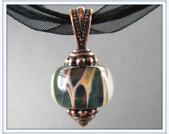 Organic Copper Green Lampwork Necklace - Copper Boro Necklace with Ribbon