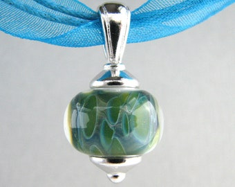 Ocean Green Blue - Boro Lampwork Necklace - Serendipity by Erin