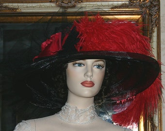 Kentucky Derby Hat Ascot Hat Edwardian Style Hat Titanic Hat - Senorita Carmelita - Wide Brim Hat Womens