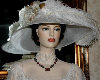 """Kentucky Derby Hat Edwardian Hat Tea Hat Designed by Darna """"Run for the Roses"""" White"""