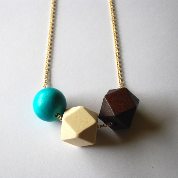 Faceted Geometric Necklace - 3 Wooden Beads on Gold