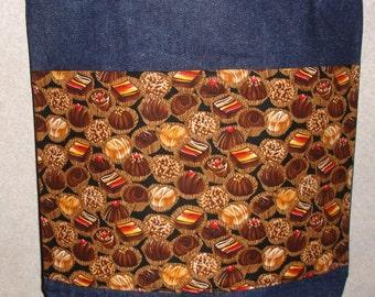 New Large Handmade Chocolate Candy Treats Denim Tote Bag