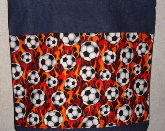 New Large Handmade Soccer Sports Flames Denim Tote Bag