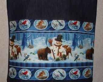 New Large Handmade Snowman Wildlife Border Print Denim Tote Bag