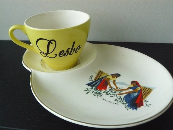 Lesbo teacup and saucer plate