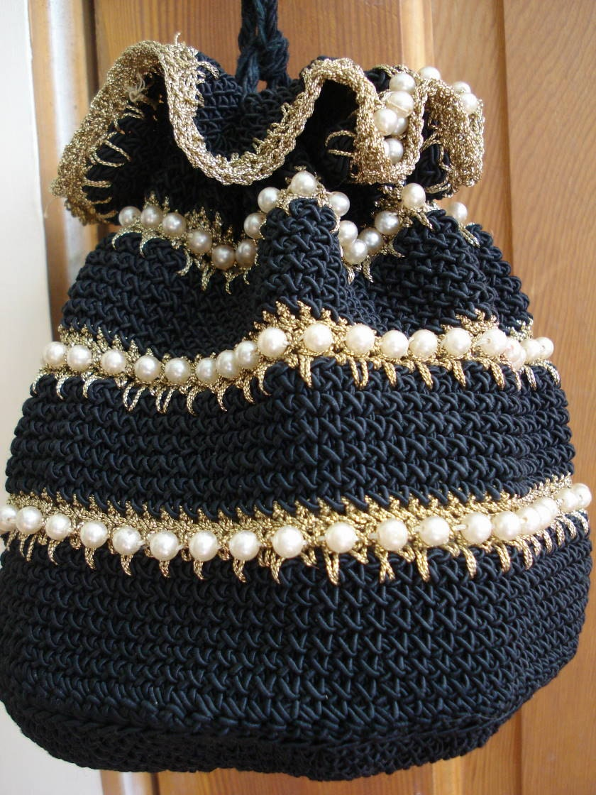 Vintage 1950s Drawstring Cord Purse Pearls And Gold 2012570