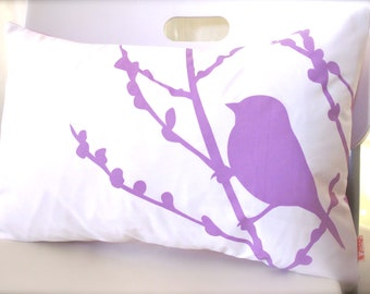 Lavender Purple Print on Off-white Bird on Cherry Blossom Pillow